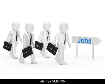 3d businessman run job - Stock Photo