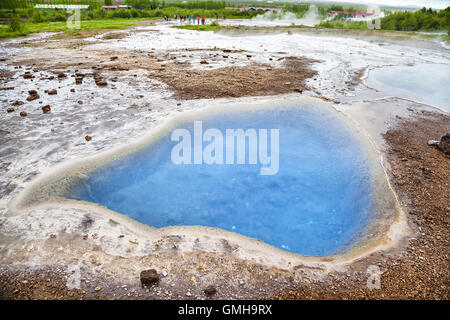 Mineral hot spring Blesi in Haukadalur geyser valley, Iceland - Stock Photo
