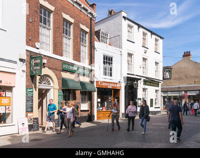 People walking down Butcher Row in Beverley, East Riding of Yorkshire, England, UK - Stock Photo