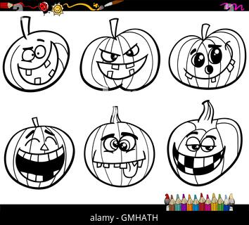 halloween pumpkins coloring page - Stock Photo