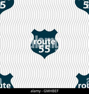 Route 55 highway icon sign. Seamless pattern with geometric texture. Vector - Stock Photo