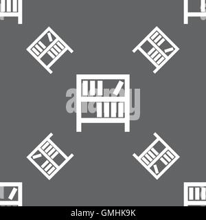 Bookshelf icon sign. Seamless pattern on a gray background. Vector - Stock Photo