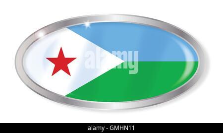 Djibouti  Flag Oval Button - Stock Photo