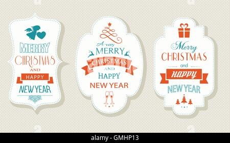 Merry Christmas and Happy New Year, Flat label set - Stock Photo