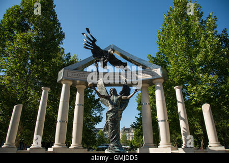 Monument to victims of the Nazi occupation of Hungary, Freedom Square, Budapest - Stock Photo