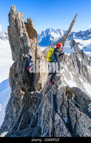 On Aiguille d'Entrèves Traverse, Mont Blanc massive, Courmayeur, Italy, Alps, Europe, EU - Stock Photo