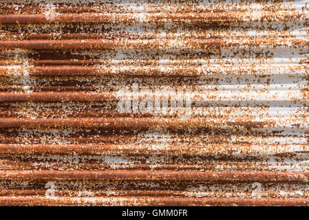 Close up of a rusty corrugated iron. Rusty corrugated iron background. - Stock Photo