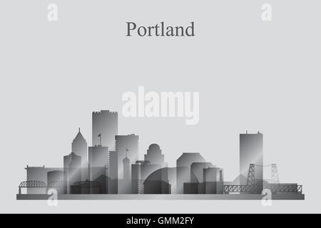 Portland city skyline silhouette in grayscale - Stock Photo