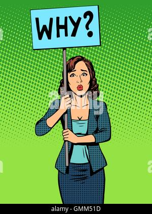 businesswoman policy protest with a poster why - Stock Photo