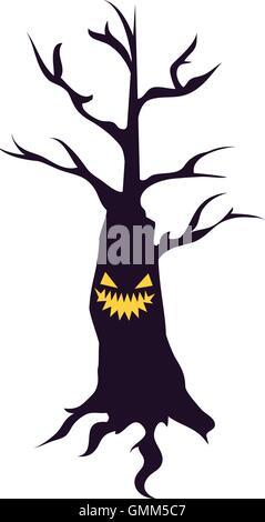 halloween scary tree - Stock Photo