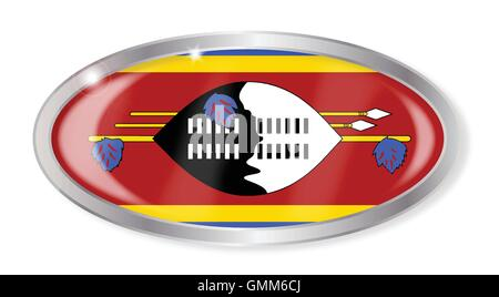 Swaziland Flag Oval Button - Stock Photo