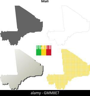 Mali outline map set - Stock Photo