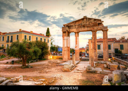 Remains of the Gate of Athena Archegetis and Roman Agora in Athens, Greece. HDR image - Stock Photo