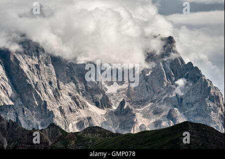 The Dolomites, Trentino, northern Italy. Part of the Pale di San Martino as seen from Monte Pradazzo, in summer - Stock Photo