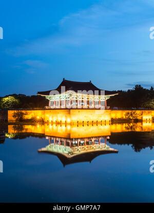 Gyeongju, South Korea - August 18, 2016 : Donggung Palace and Wolji Pond at Night, Gyeongju, South Korea. - Stock Photo