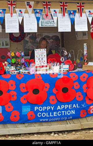 Poppy Appeal Collection at Great Dorset Steam Fair, Tarrant Hinton, Dorset in August - Stock Photo