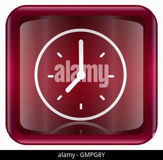Clock icon red - Stock Photo