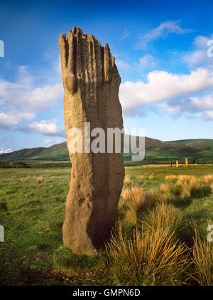 Machrie Moor stone circles, Isle of Arran: a tall sandstone pillar of Circle III with the stones of Circle II visible - Stock Photo