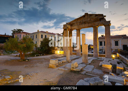 Remains of the Gate of Athena Archegetis and Roman Agora in Athens, Greece. - Stock Photo