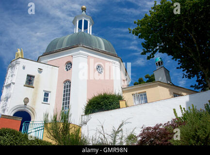 Domed building at Portmeirion, North Wales - Stock Photo