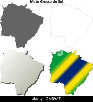 Mato Grosso do Sul blank outline map set - Stock Photo