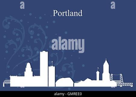 Portland city skyline silhouette on blue background - Stock Photo