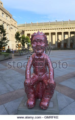 Guilded Wullie by Robert Mach and Touring Oor Wullie statues City Square Dundee Scotland  August 2016 - Stock Photo