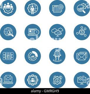 Flat Design Business Icons Set. - Stock Photo