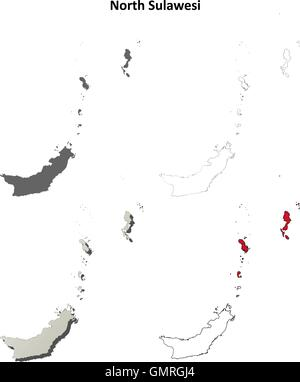 North Sulawesi blank outline map set - Stock Photo