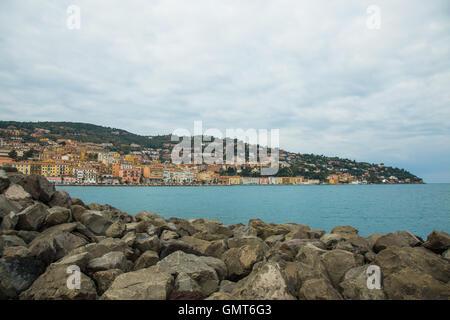 View of the city of Porto Santo Stefano from Pier - Stock Photo