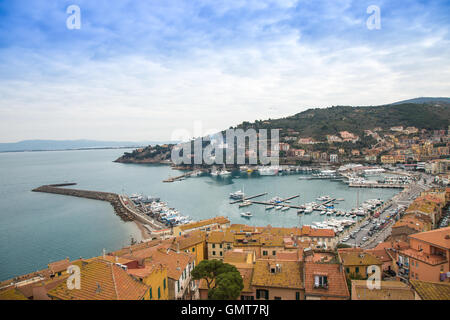 View of Porto Santo Stefano from above - Stock Photo