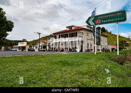 Whangamomona hotel on state highway 43 known as The Forgotten World Highway. Taranaki North Island New Zealand. - Stock Photo