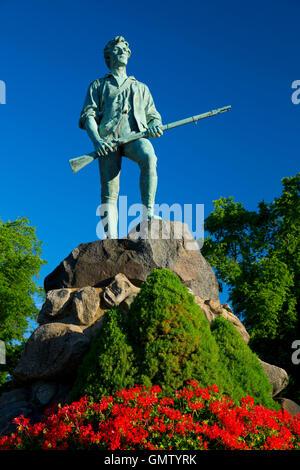 Captain Parker statue on Battle Green, Lexington Green, Lexington,  Massachusetts