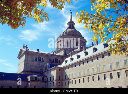 Basilica of the Royal Monastery. San Lorenzo del Escorial, Madrid province, Spain. - Stock Photo