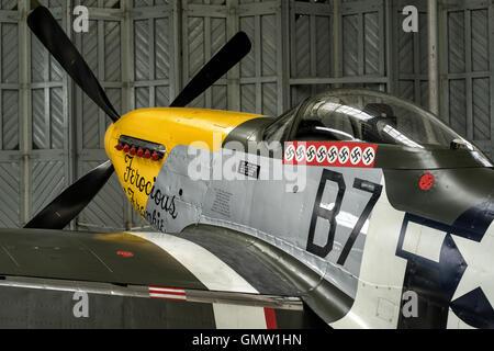 P51 Mustang Ferocious Frankie in hangar - Stock Photo