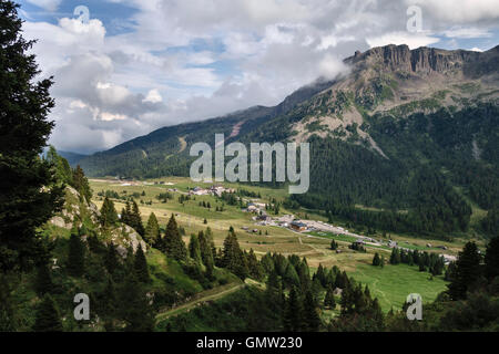 The Dolomites, Trentino, northern Italy. The Passo San Pellegrino in summer - Stock Photo