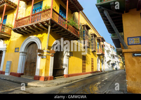 View of stunning colonial architecture in the historic center of Cartagena, Colombia - Stock Photo