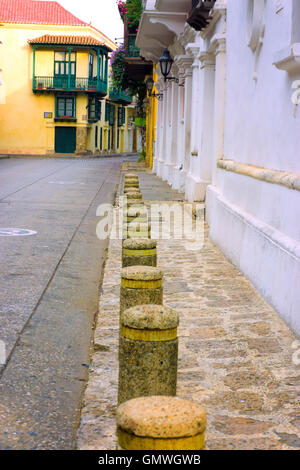 View of a street in the historic center of Cartagena, Colombia - Stock Photo