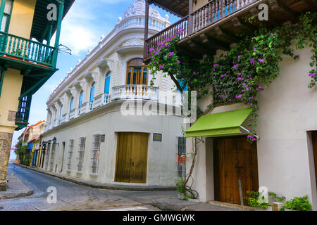 Street corner of beautiful colonial architecture in Cartagena, Colombia - Stock Photo