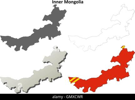 Inner Mongolia blank outline map set - Stock Photo