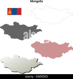 Mongolia outline map set - Stock Photo