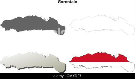 Gorontalo blank outline map set - Stock Photo