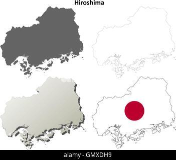 Hiroshima blank outline map set - Stock Photo