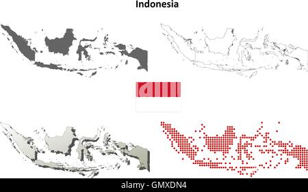 Indonesia outline map set - Stock Photo
