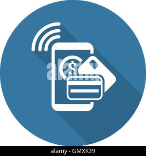 Mobile Payment  Icon. Flat Design. - Stock Photo
