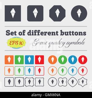 ice cream icon sign. Big set of colorful, diverse, high-quality buttons. Vector - Stock Photo