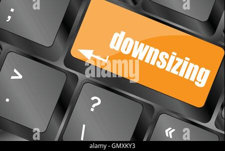 cloud icon with downsizing word on computer keyboard key, vector illustration - Stock Photo