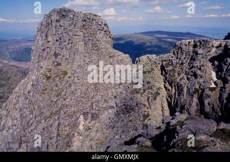 Emblematic Cântaro Magro cliff at Serra da Estrela Mountain Natural Park. Portugal - Stock Photo