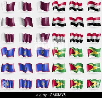 Qatar, Yemen, Guam, Guyana. Set of 36 flags of the countries of the world. Vector - Stock Photo