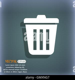 Bin  icon. On the blue-green abstract background with shadow and space for your text. Vector - Stock Photo